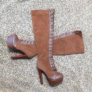 💥BOGO💥Thigh-hi Red Bottom Platform Boots